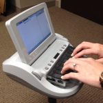 Court reporting stenography machine, similar to machines used by court reporters at Urlaub Bowen & Associates.